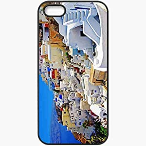 Protective Case Back Cover For iPhone 5 5S Case Greece Santorini S Home Sea Nature Black