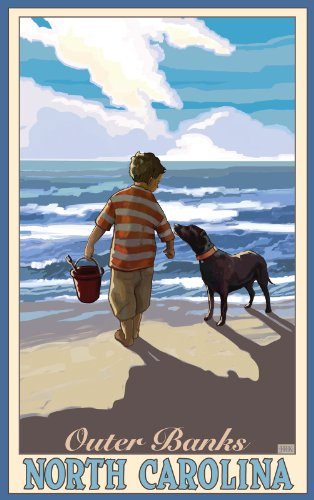 northwest-art-mall-outer-banks-boy-with-dog-north-carolina-wall-art-by-joanne-kollman-11-by-17-inch