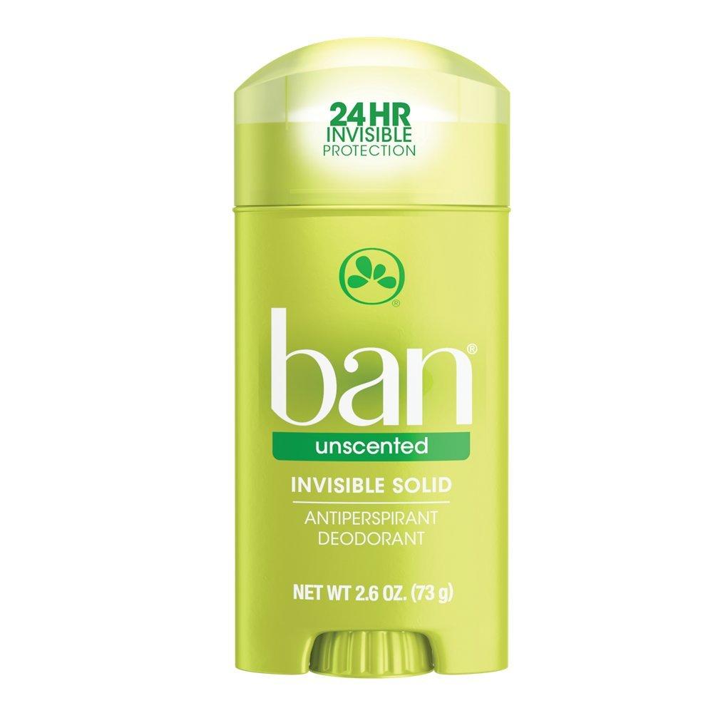 Ban Antiperspirant Deodorant, Invisible Solid, Unscented 2.60 oz