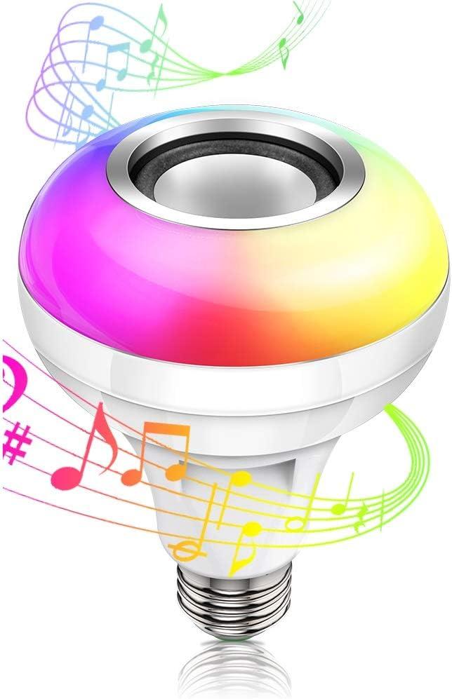Altavoz con bombilla Bluetooth 4.2 con puerto USB, lámpara estéreo con cambio de color RGB E26/E27 Base LED Bombilla de música con control remoto para fiestas, decoraciones para el hogar