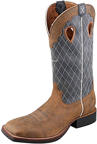 Twisted X Mens Ruff Stock Western Boot, Bomber/Blue, Size 11