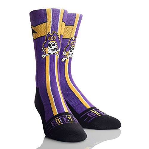 NCAA East Carolina Pirates Jersey Series University Custom Athletic Crew Socks, Large/X-Large, Purple