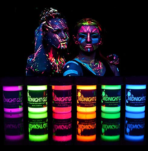 UV Neon Face & Body Paint Glow Kit (6 Bottles 0.75 oz. Each) - Top Rated Blacklight Reactive Fluorescent Paint - Safe, Washable, Non-Toxic, By Midnight Glo]()