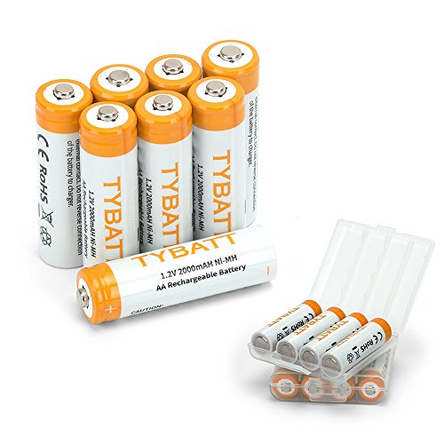 TYBATT NiMh AA Rechargeable Batteries High Capacity, 2000mAh Pre-Charged Battery Pack, 8-Pack with 2 Storage Cases
