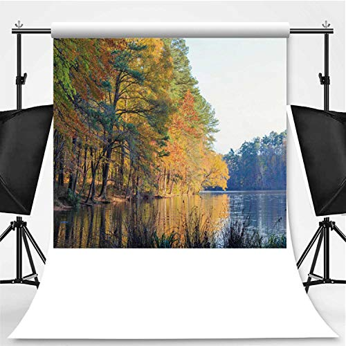 Lake Johnson in Raleigh Photography Backdrop,NC During Fall Season for Photo Studio,Pictorial Cloth:6x10ft (Store Raleigh Goods Home Nc)