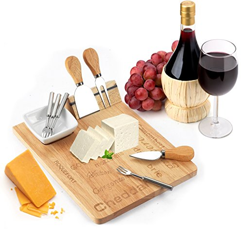 Cheese Board Set - Set Includes 3 Piece Cheese Knife Set & 4 Small Cheese Serving Forks - Plus Porcelain Dish for Sauces & Condiments by - Tray Beechwood Cutlery
