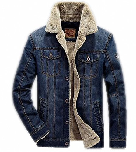 Price comparison product image M-4XL men jacket and coats brand clothing denim jacket Fashion mens jeans jacket thick warm winter outwear male cowboy YF055 66009 deep blue XXL