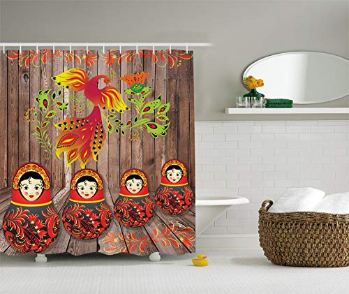 - Ambesonne Ethnic Shower Curtain, Folkloric Image with Traditional Russian Dols and Floral Bird Ornament on Wooden, Cloth Fabric Bathroom Decor Set with Hooks, 70