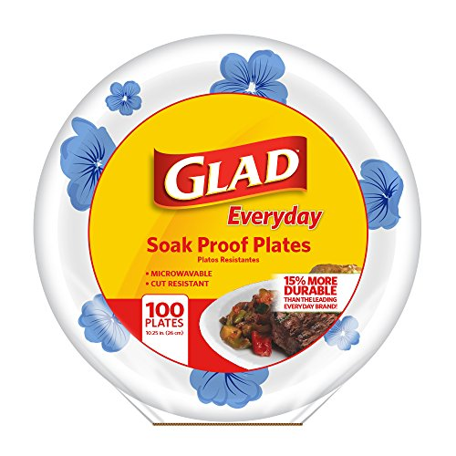 Glad Round Paper Plates, Blue Flower, 10.25 Inches, 100 Count