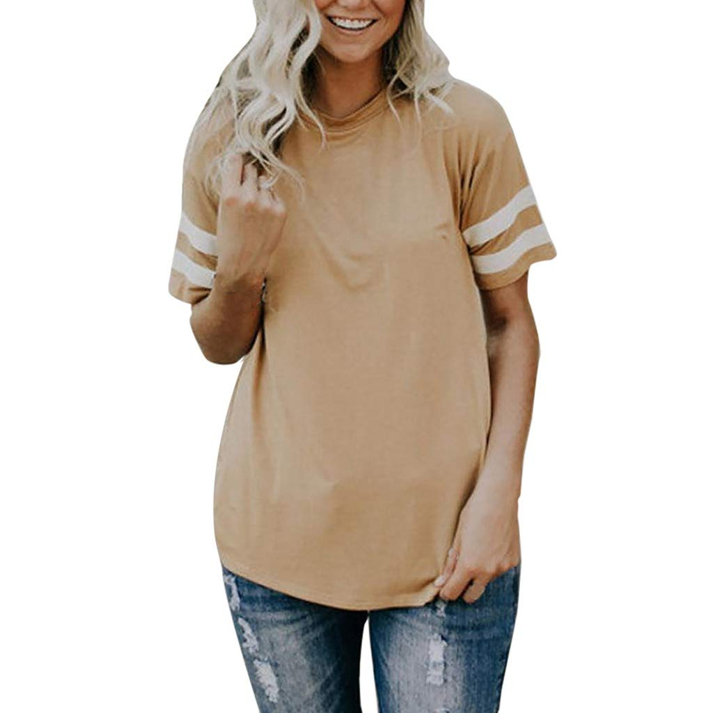 Fashion Casual Daily Womens Ladies Short Sleeve T-Shirt Top Round Neck Stripe T Shirt Tee Tunic Blouse