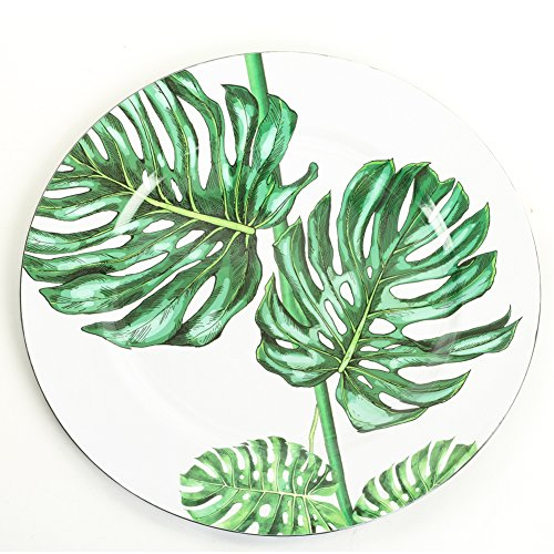 (Koyal Wholesale Monstera Tropical Leaf Charger Plates, 4-Pack Palm Leaf Charger Plates, Tropical Leaves Party Plates)