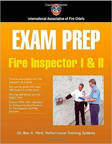 Exam Prep Fire Inspector I II 9780763728489 Medicine
