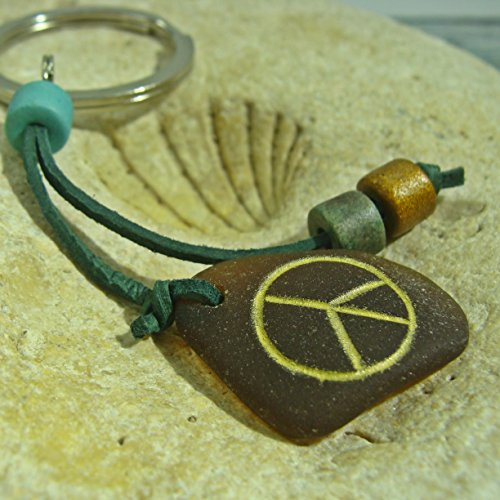 Hand-Crafted Sea Glass Keychain Bag Charm Peace Sign Beach Accessories