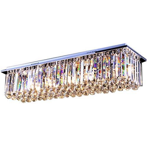 Moooni Rectangle Chandelier Raindrop Crystal Chandelier Flush Mount Ceiling Light for Living Rooms Dining Rooms L40