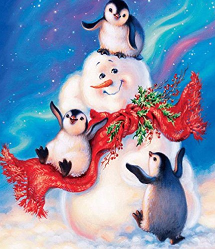 Snowman Penguin (DIY 5d Rhinestone Art,AxiEr 5D Diamond Painting DIY Pictures Of Crystals Embroidery Cross Stitch Kit Penguins And Snowman)