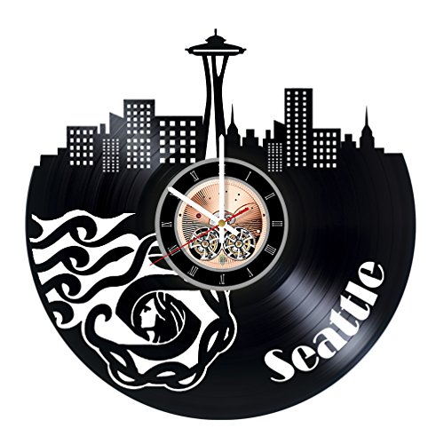 Seattle Washington Vinyl Record Wall Clock – Home Room or Bedroom wall decor – Gift ideas for boys and girls Skyline Unique Art Design
