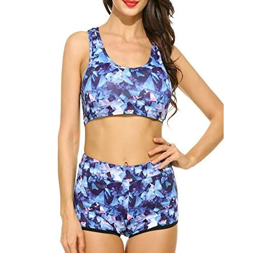 Discount elomes Women 2 Pieces Swimsuits Sports Padded Racer Back Beach Wear Floral Print Top and Bottom Bikini Set, Blue, Medium supplier