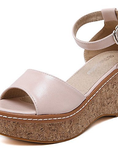ShangYi Womens Shoes Leatherette Wedge Heel Open Toe Sandals Dress Pink / Almond almond