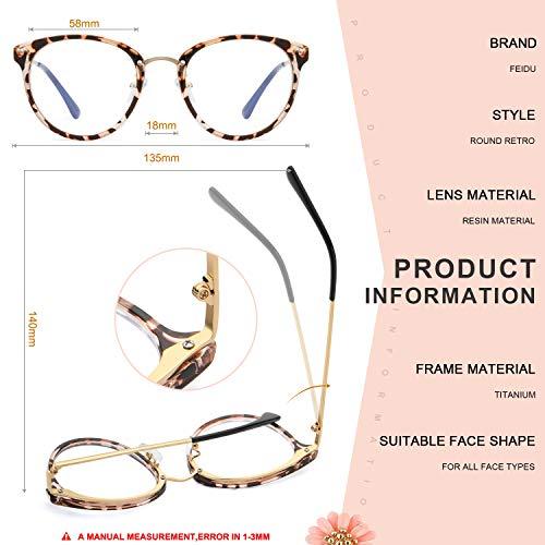 Retro Round Blue Light Blocking Glasses Women/Men – FEIDU Computer Anti Eye Eyestrain Reading Gaming FASHION Glasses Non…