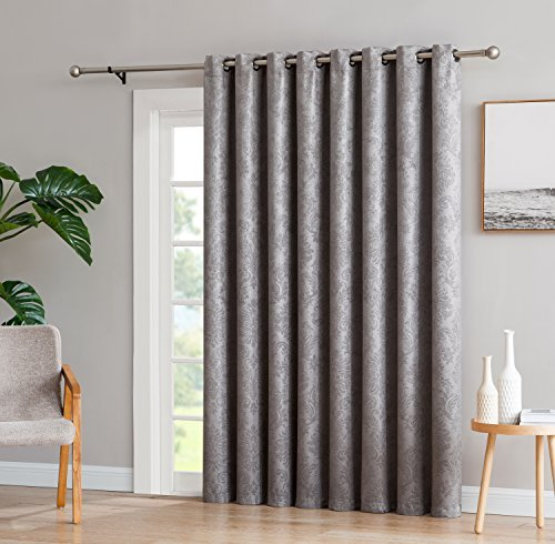 Evelyn - 1 Patio Extra Wide Curtain Panel with 16 Grommets - Embossed Thermal Weaved Blackout - Noise Reduction Fabric - Ideal for Sliding and Patio Doors (Patio 102