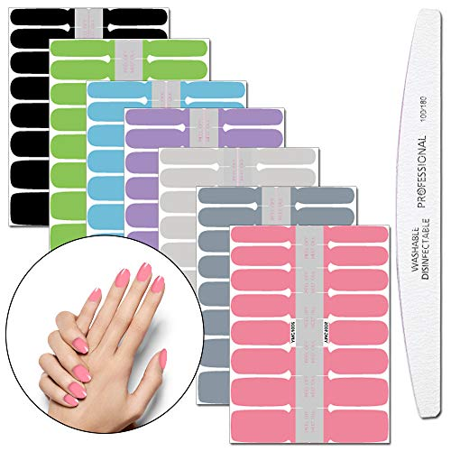 WOKOTO 7 Pieces Full Wraps Nail Polish Stickers Tips With 1Pcs Nail File Nail Self-Adhesive Decals Pure Colors Manicure Sticker Strips Kit For ()