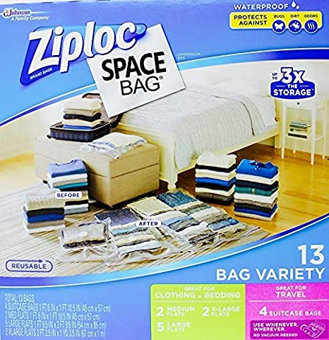 Amazon.com: Ziploc Space Bag- Bolsa de sellado al vacío - 13 ...