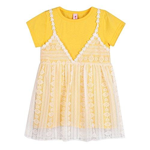 Robes De Princesse Dentelle Pull-over Col Rond Bébé Enfant En Bas Âge Weixinbuy Fille Vêtements Jaune (manches Courtes)