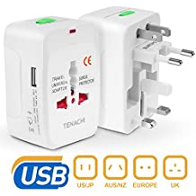 Universal Plug Travel Adapter TENACHI Worldwide Plug Converter Adaptor All In One Wall Charger With 1 USB Works 110 240V for EU UK US AU Plugs