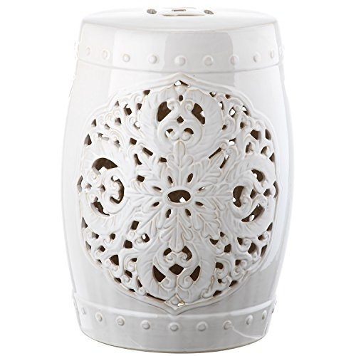 Safavieh Castle Gardens Collection Flora White Glazed Ceramic Garden Stool - White Garden Stool