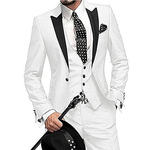 One Button 3 Pieces White Wedding Suits Notch Lapel Men Suits Groom Tuxedos White 42 chest / 36 waist by Botong