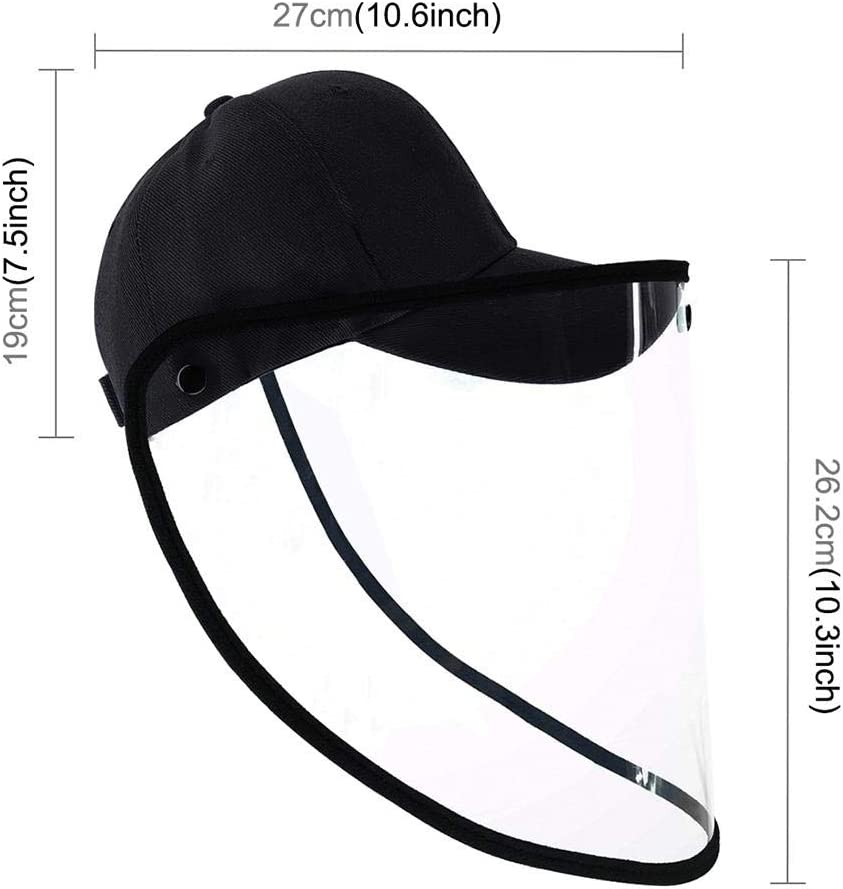 Amovible Transparent Face Protection Shield for Oil Exhaust Gas Pollutant Isolated UV Protection Sun Hat Anti-Fog Anti-Saliva Dust Hat Adjustable Size TPU Face Cover Safety Protective Hat