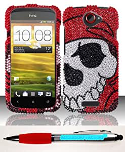 Accessory Factory(TM) Bundle (the item, 2in1 Stylus Point Pen) For HTC One S Ville (T-Mobile) Full Diamond Design Case Cover Protector - Pirate Skull FPD Stylish Bling Snap On Hard Faceplate Shell
