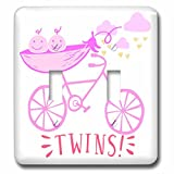 3dRose RinaPiro - Kids - Twins. Girls. Announcement. Cute picture. - Light Switch Covers - double toggle switch (lsp_261341_2)