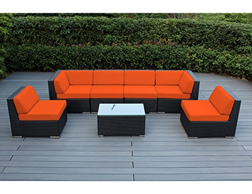 Ohana 7-Piece Outdoor Patio Wicker Furniture Sectional Conversation Set with Weather Resistant Cushions, Orange (PN0703OR) (7 Piece Gathering Set)