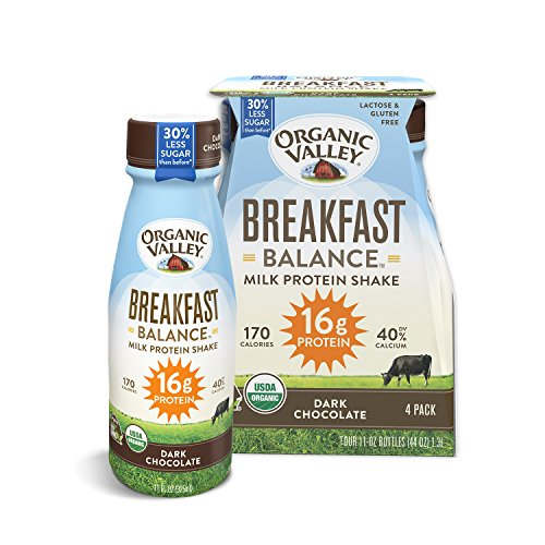 Organic Valley Breakfast Balance, Organic Milk Protein Shake, Dark Chocolate, 11 Ounces (Pack of 4)