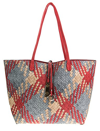 Reversible Bag Pattern (Canal Collections Reversible 2 in 1 Woven Pattern Fashion Tote Handbag with Pouch (Grey))