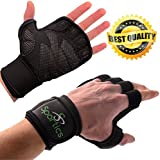Sportics Cross Fit Gloves – Ideal as Workout, Cross Fitness, Workout, Exercising or Weightlifting Gloves – High Breathability, Adjustable Velcro Design – Built-In Wrist Wraps (L)