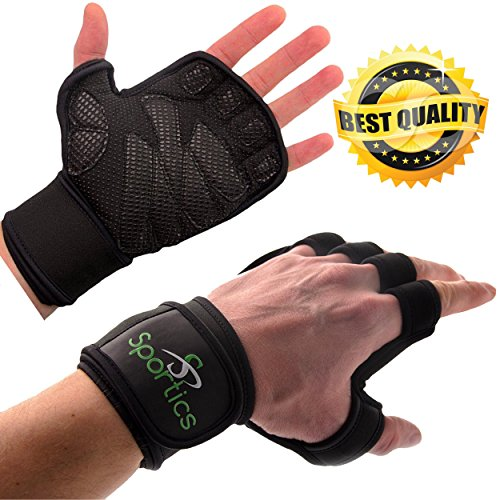 Sportics Crossfit gloves - Ideal as a Workout, Training Weightlifting Gloves, High Breathability, Adjustable Velkro Design - Built-in Wrist Wraps (Training Cross Fit)