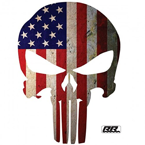 2X Large Punisher Skull American Flag Patriotic Auto Car Decal Bumper Sticker Vinyl For Truck RV SUV Boat Window Support US Military Marines Navy Seal Army