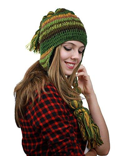 NYFASHION101 Handmade Multicolor Knit Nepal Ear Flaps Wool Fleece Lined Winter Hat, Olive