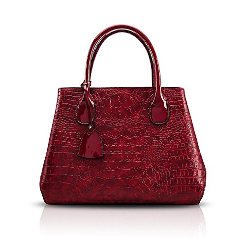 Tisdaini Nuovo portafoglio da donna a forma di coccodrillo con tracolla alla moda Borgogna