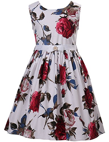 PrinceSasa Elegant Girls Dresses Cotton Floral Sundresses Vintage Frocks for Girls Outfits Dress,f2,48''/4-5 Years(Size 120) -