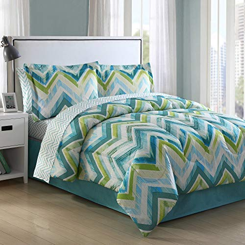 Ellison Great Value Connor Chevron 8 Piece Full Bed in a Bag, Blue (Chevron Bed Sets)