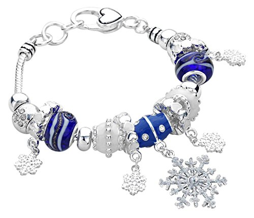 (Blue and White Glass Crystal Accented Beads with Glittery Snowflakes Charms Bracelet Christmas Winter Holiday Fashion Jewelry)
