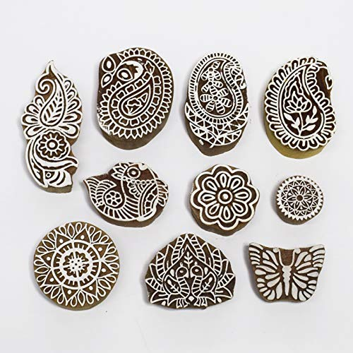 Asian Hobby Crafts Baren Handcarved Wooden Blocks for Stamping, Block Printing on Textiles, Pottery Crafts,Henna, Scrapbooking, Wall Painting: Set of 10pcs (Design -