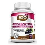 100 Naturals Super Resveratrol 1200mg with Pomegranate,Green Tea, Quercetin, Grape Seed Extract, Acai, Lactobacillus Acidophilus