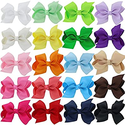 "QingHan Baby Girls 3"" Grosgrain Ribbon Boutique Hair Bows Alligator Clips Pack Of 20"