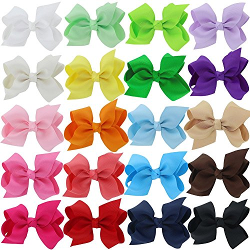"Price comparison product image QingHan Baby Girls 3"" Grosgrain Ribbon Boutique Hair Bows Alligator Clips Pack Of 20"