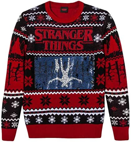 Stranger Things Men's Ugly Christmas Holiday Flip Sequin
