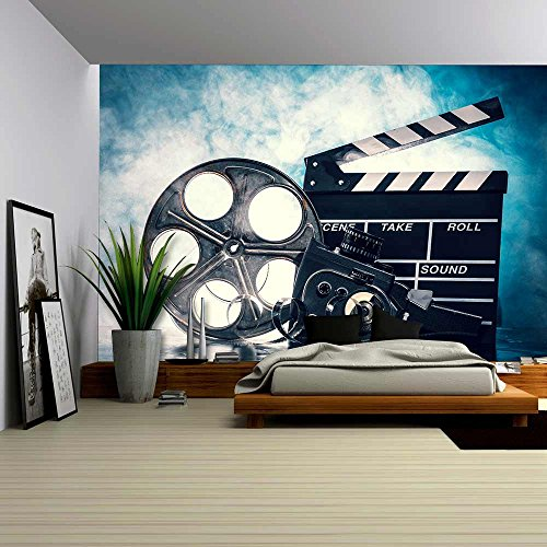 Retro Film Production Accessories Still Life Concept of Filmmaking Smoke Effect on Background